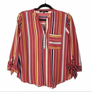 Sweet Rain half sleeve vneck striped shirt